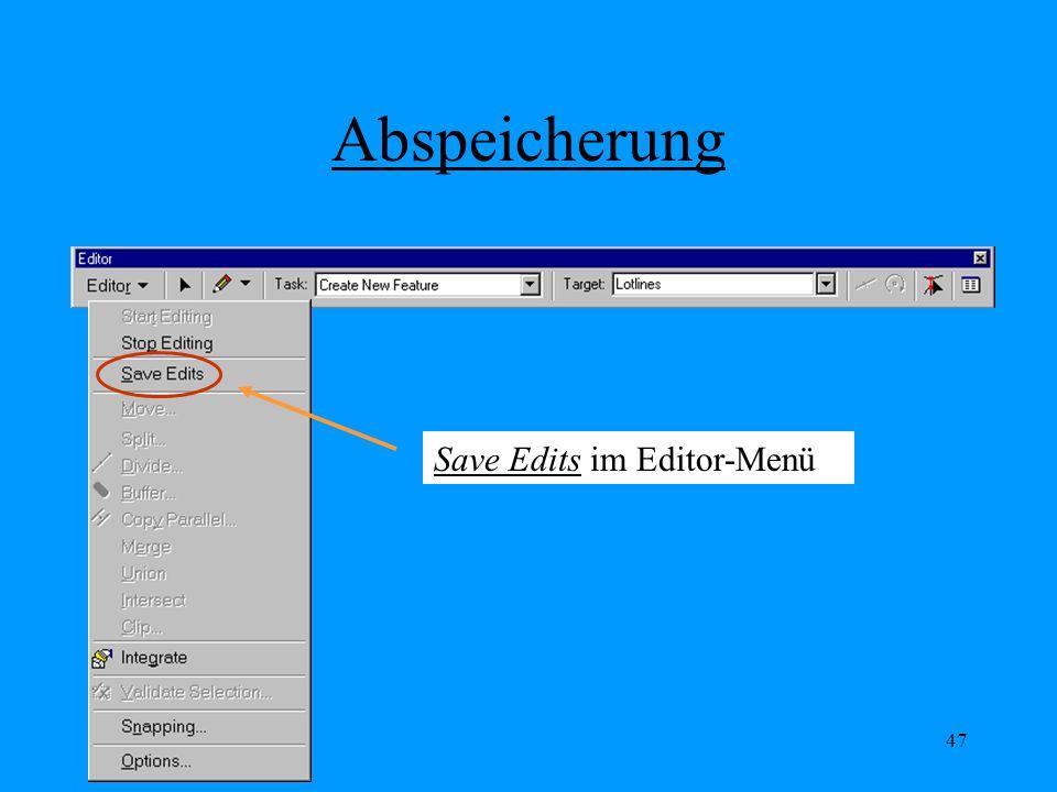 Abspeicherung Save Edits im Editor-Menü