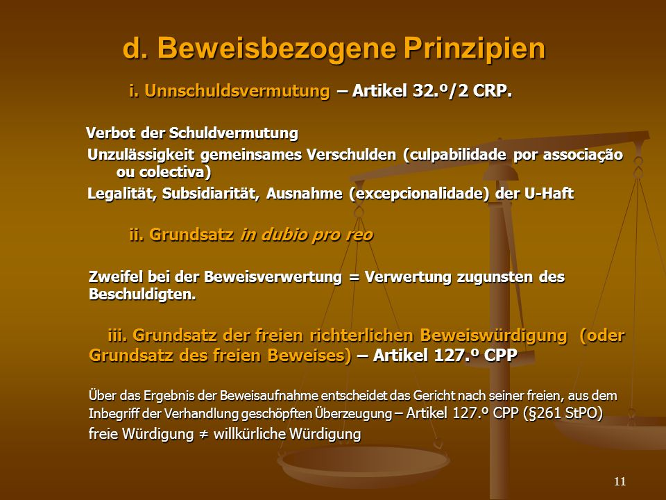 d. Beweisbezogene Prinzipien