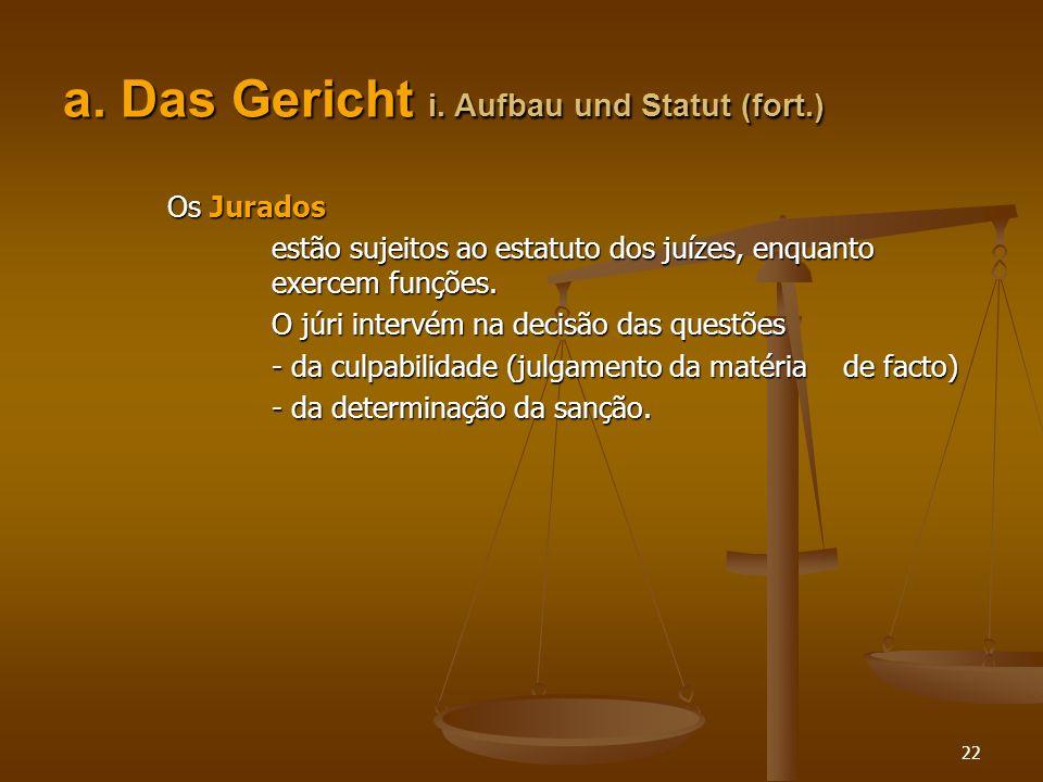 a. Das Gericht i. Aufbau und Statut (fort.)