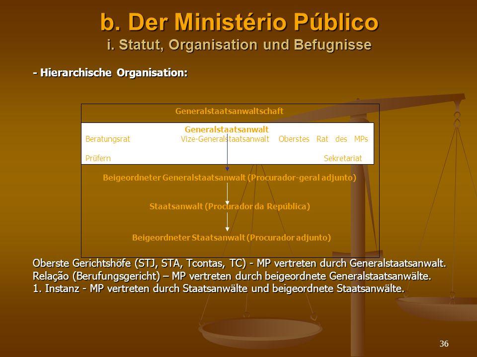 b. Der Ministério Público i. Statut, Organisation und Befugnisse