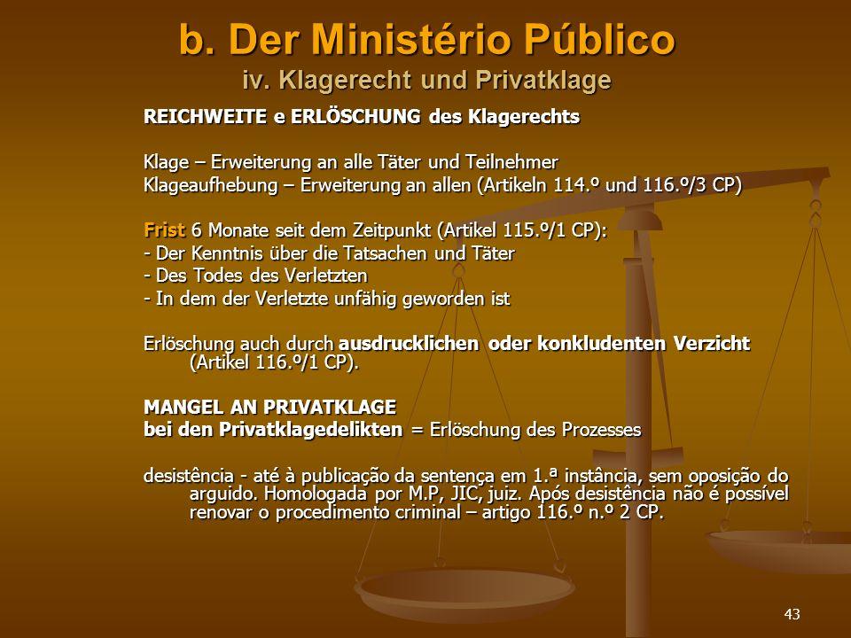 b. Der Ministério Público iv. Klagerecht und Privatklage