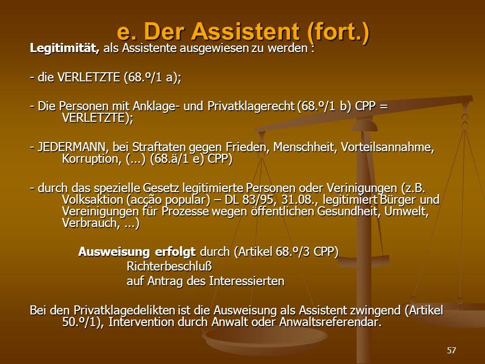 e. Der Assistent (fort.) Legitimität, als Assistente ausgewiesen zu werden : - die VERLETZTE (68.º/1 a);