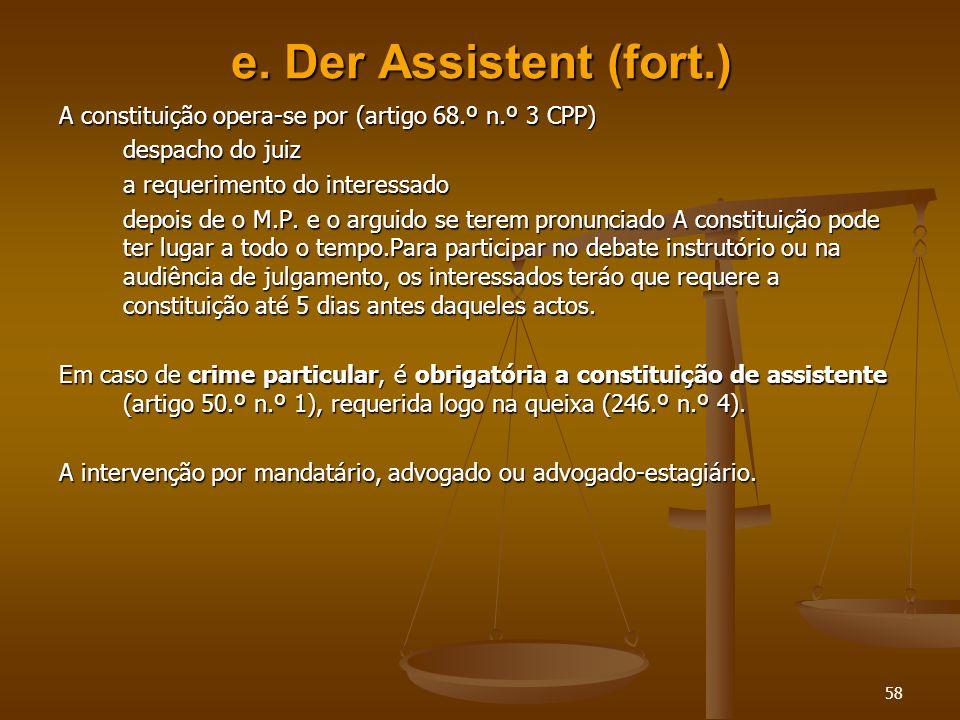 e. Der Assistent (fort.) A constituição opera-se por (artigo 68.º n.º 3 CPP) despacho do juiz. a requerimento do interessado.