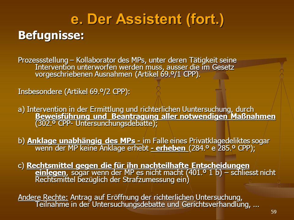 e. Der Assistent (fort.) Befugnisse: