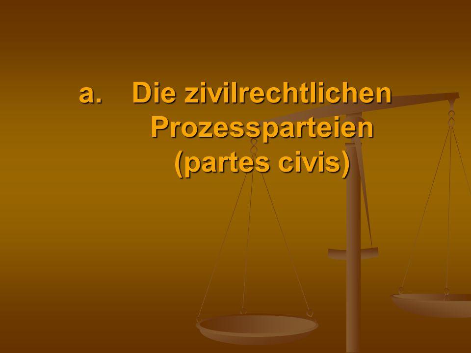 Die zivilrechtlichen Prozessparteien (partes civis)
