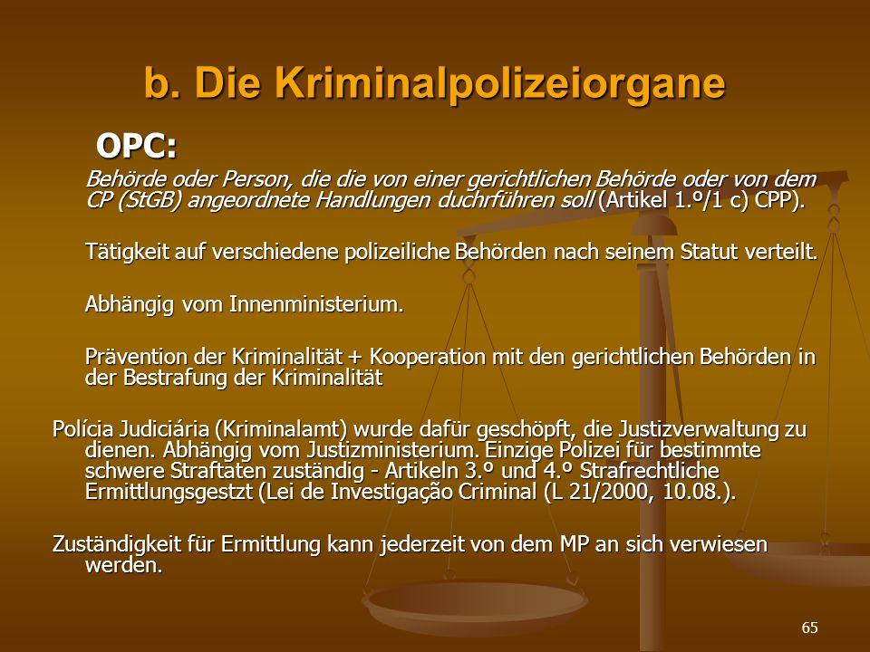 b. Die Kriminalpolizeiorgane
