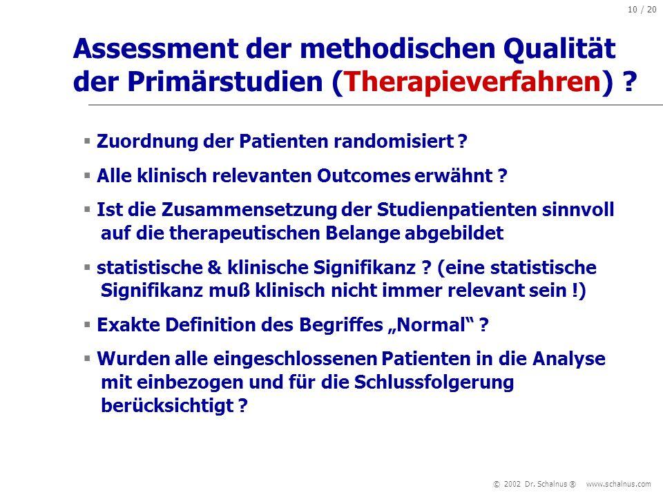 Assessment der methodischen Qualität der Primärstudien (Therapieverfahren)