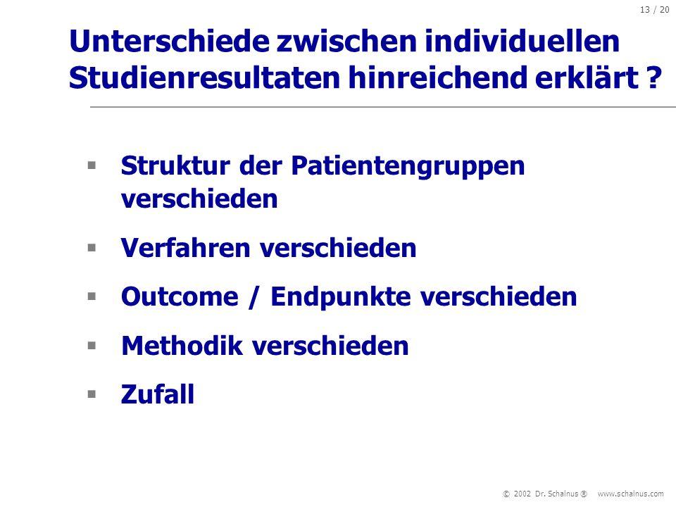 Unterschiede zwischen individuellen Studienresultaten hinreichend erklärt