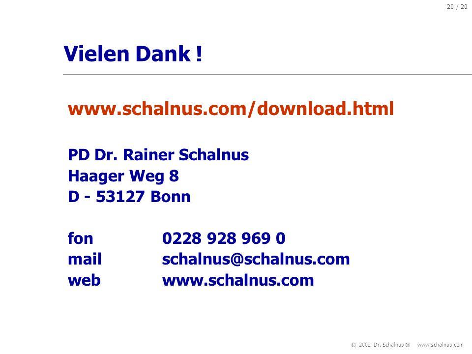Vielen Dank ! www.schalnus.com/download.html PD Dr. Rainer Schalnus