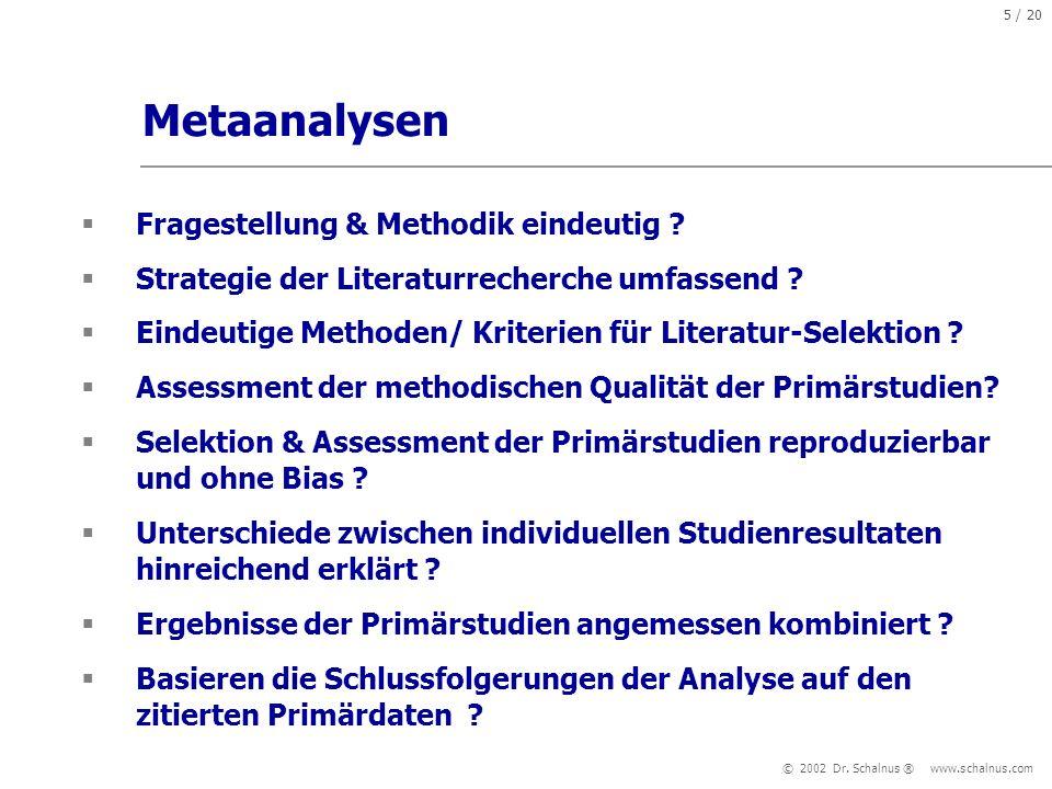 Metaanalysen Fragestellung & Methodik eindeutig