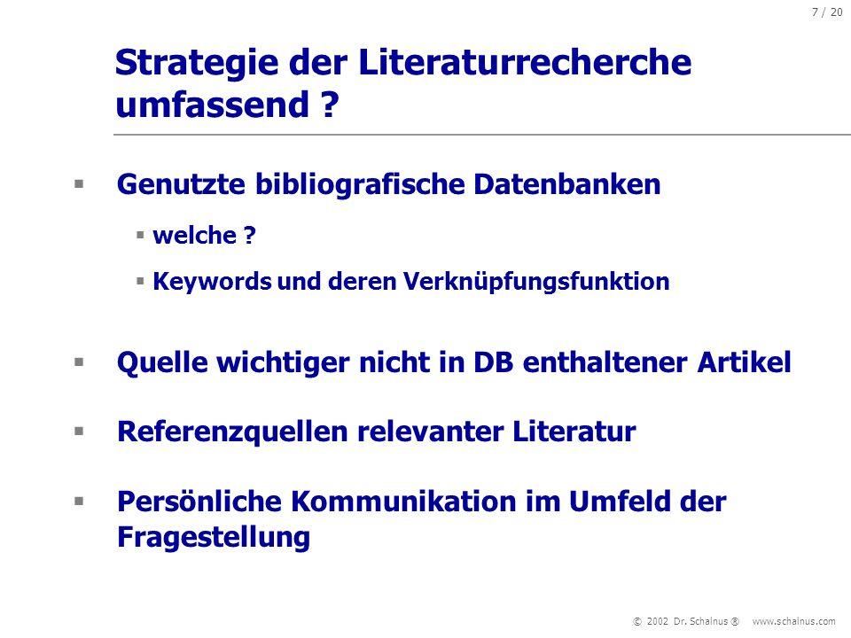 Strategie der Literaturrecherche umfassend