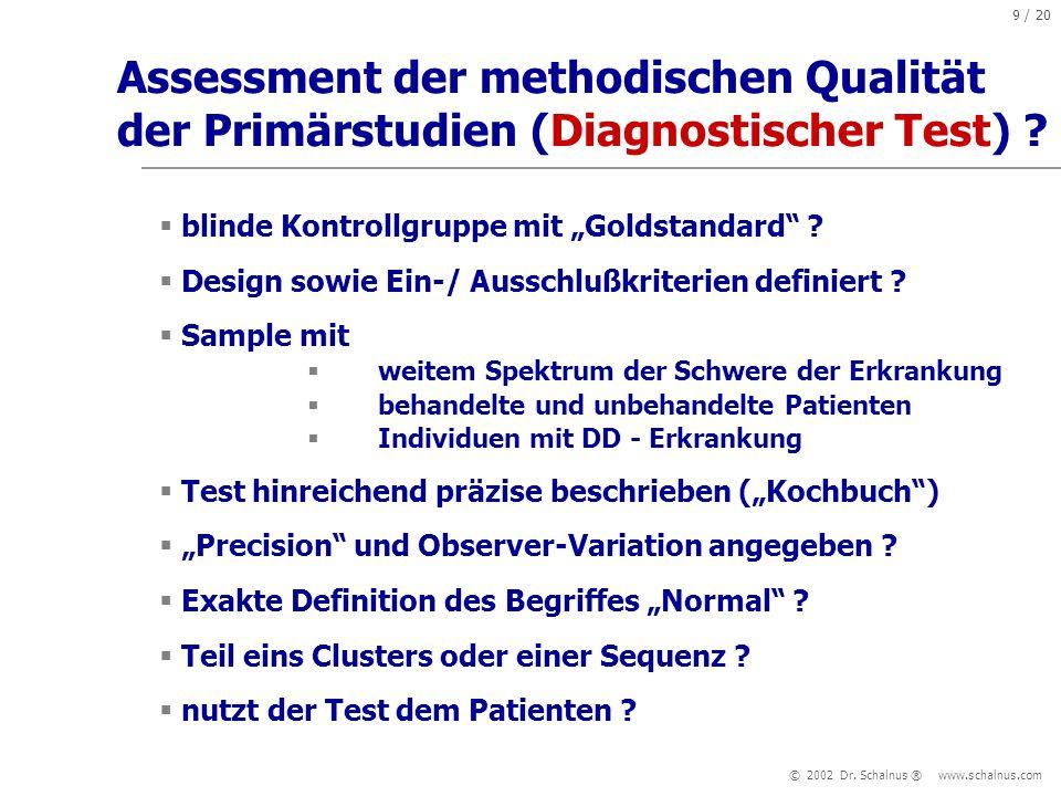 Assessment der methodischen Qualität der Primärstudien (Diagnostischer Test)