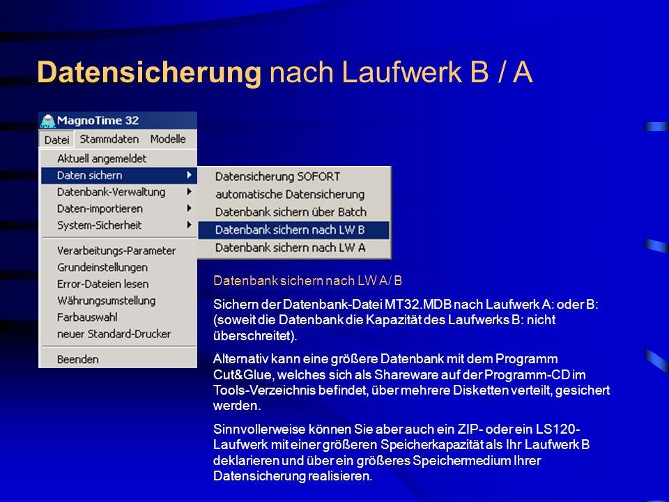 Datensicherung nach Laufwerk B / A