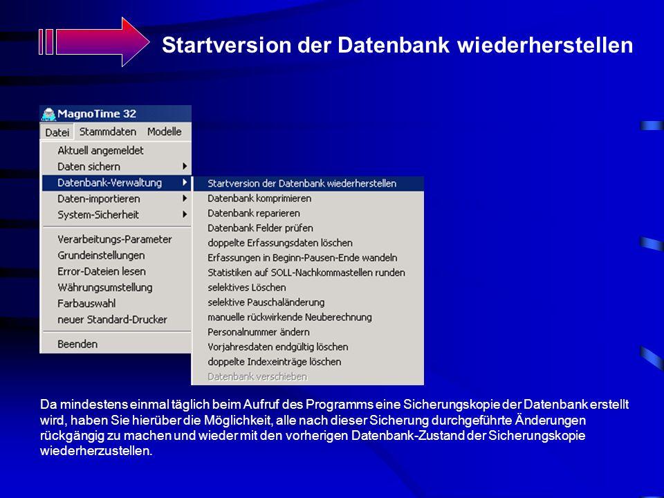 Startversion der Datenbank wiederherstellen