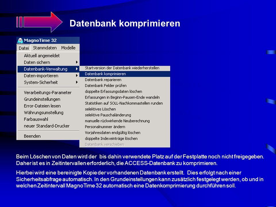 Datenbank komprimieren