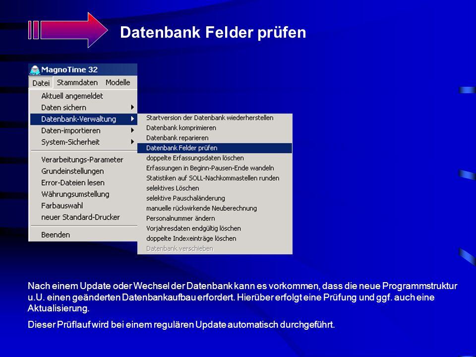 Datenbank Felder prüfen