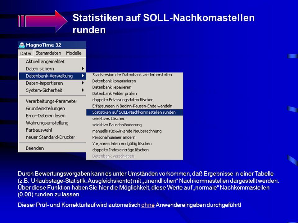 Statistiken auf SOLL-Nachkomastellen runden