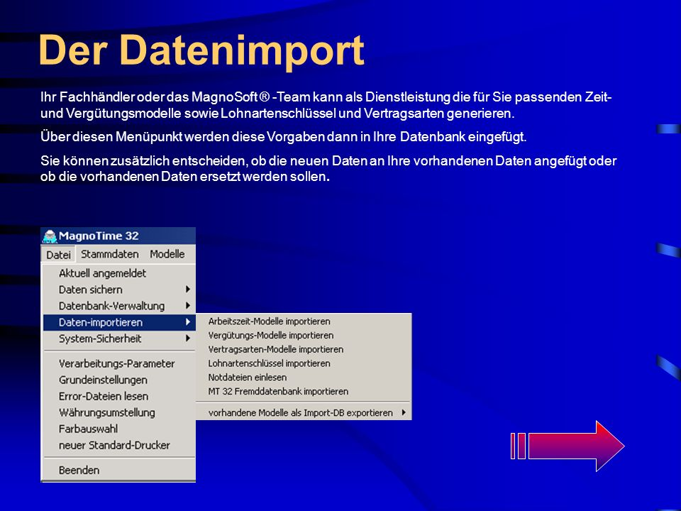 Der Datenimport