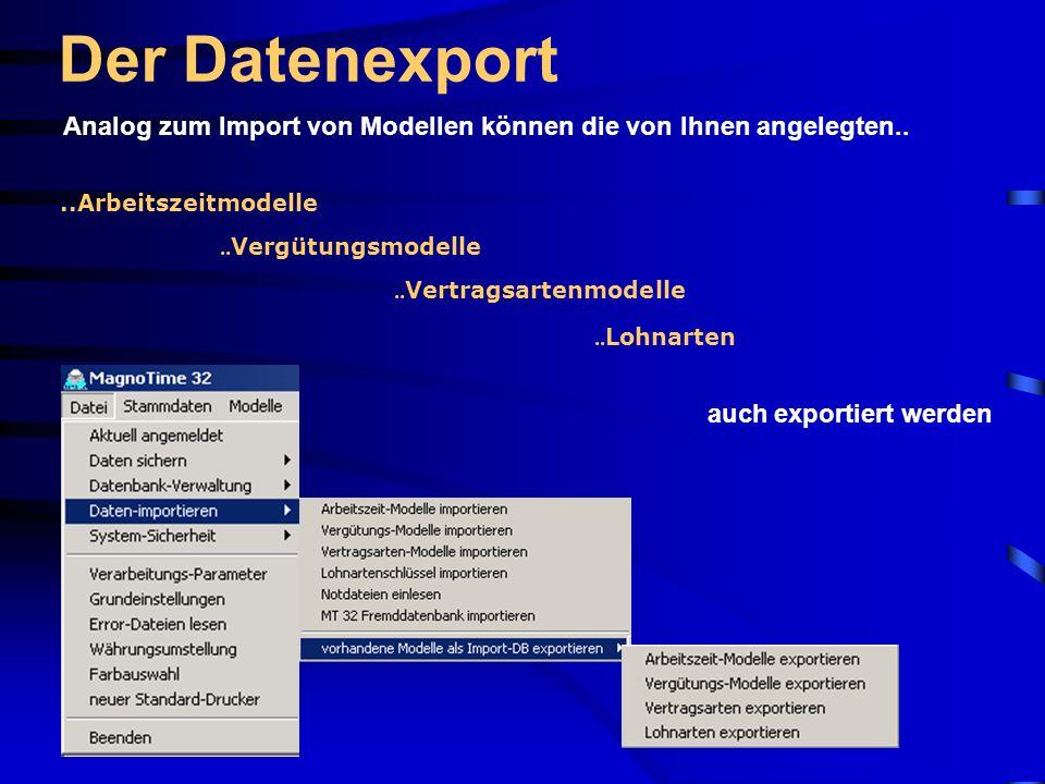 Der Datenexport Analog zum Import von Modellen können die von Ihnen angelegten.. ..Arbeitszeitmodelle.