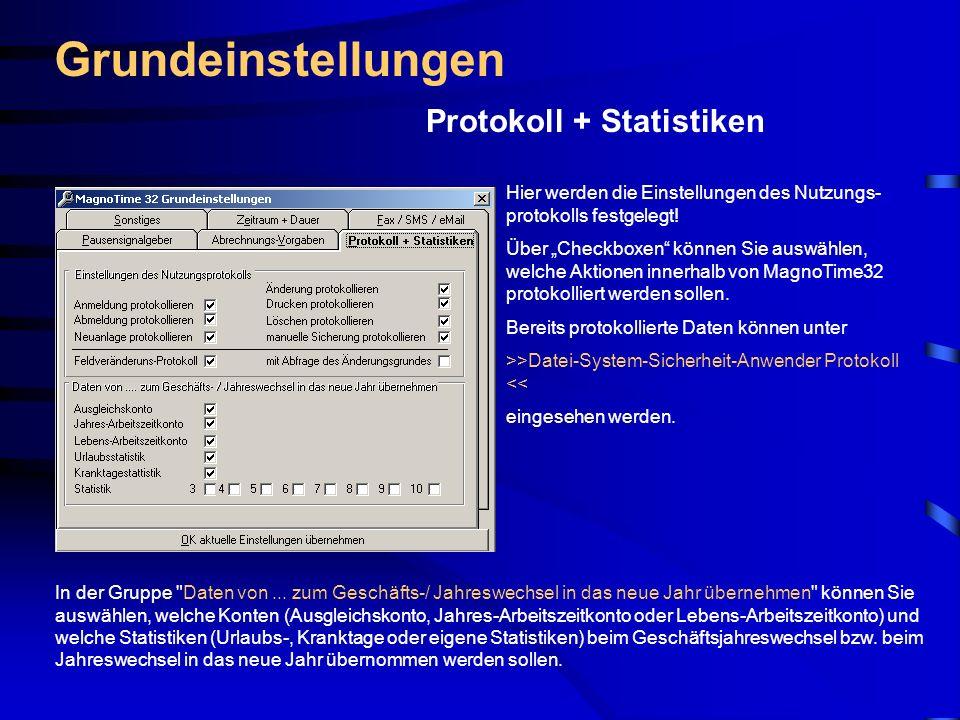 Grundeinstellungen Protokoll + Statistiken