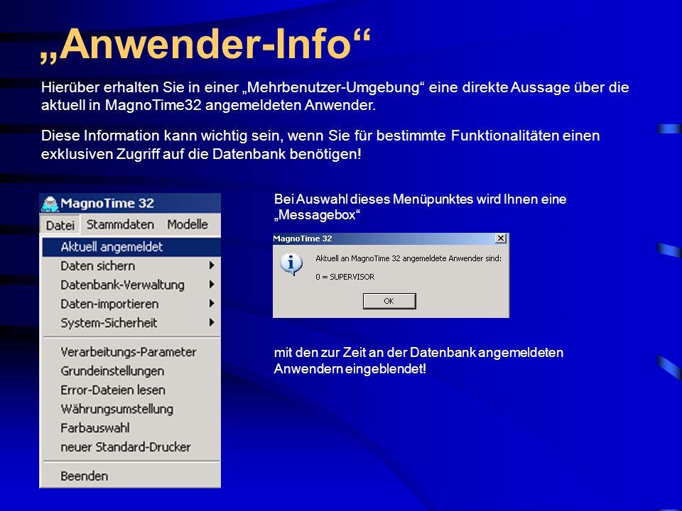 """""""Anwender-Info Hierüber erhalten Sie in einer """"Mehrbenutzer-Umgebung eine direkte Aussage über die aktuell in MagnoTime32 angemeldeten Anwender."""