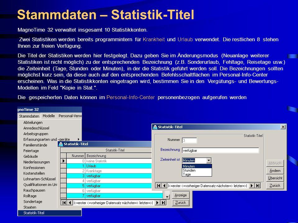 Stammdaten – Statistik-Titel