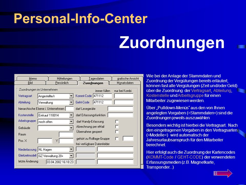 Zuordnungen Personal-Info-Center