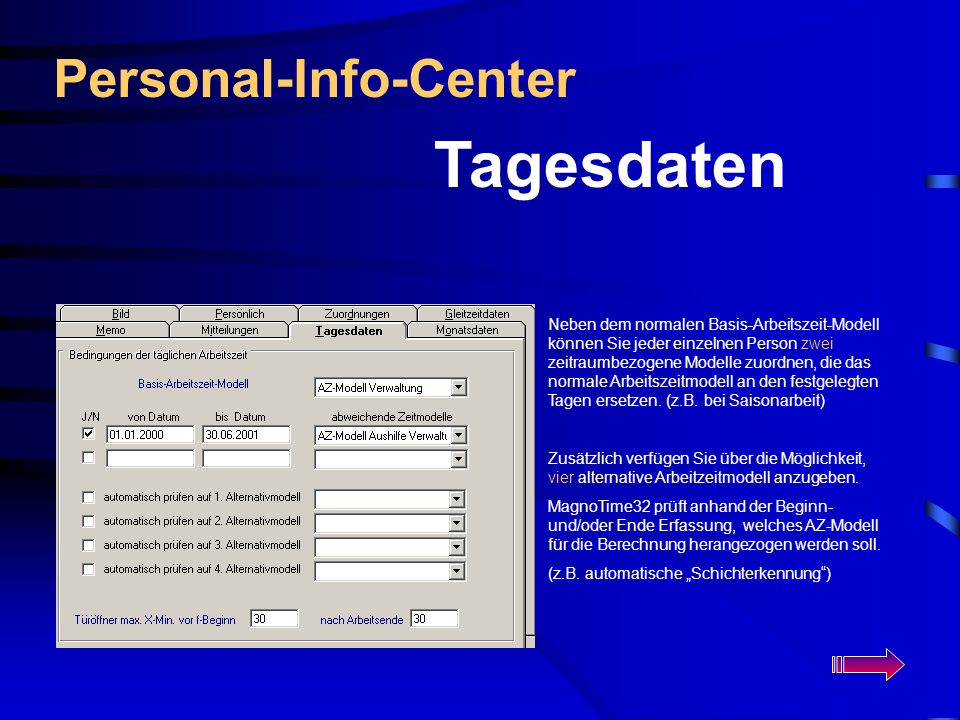 Tagesdaten Personal-Info-Center