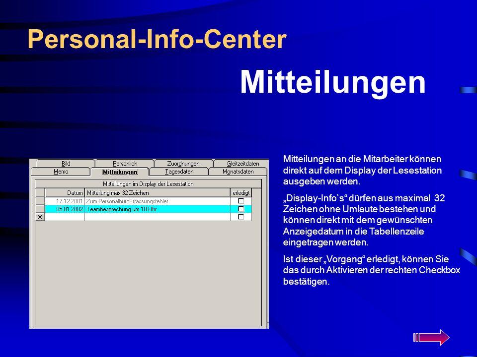 Mitteilungen Personal-Info-Center