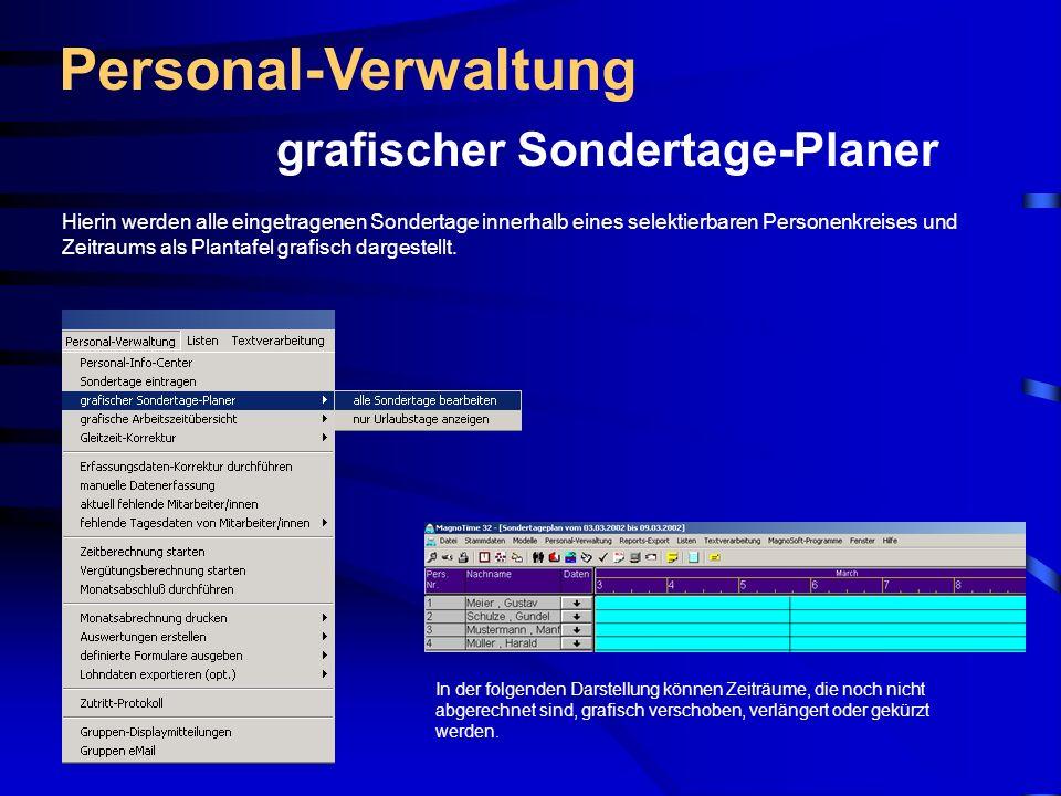 Personal-Verwaltung grafischer Sondertage-Planer
