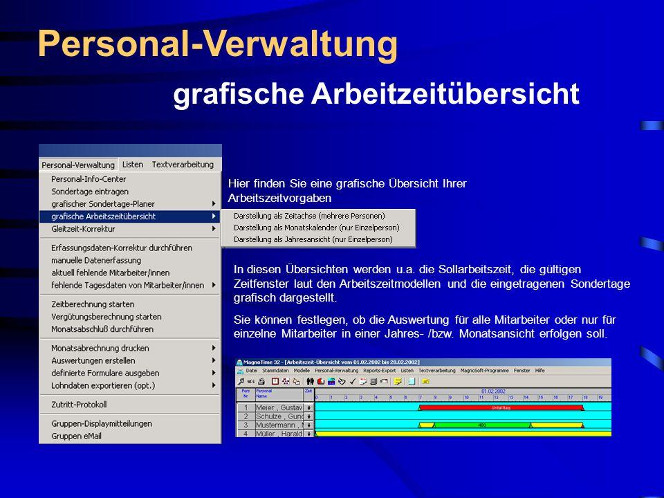 Personal-Verwaltung grafische Arbeitzeitübersicht