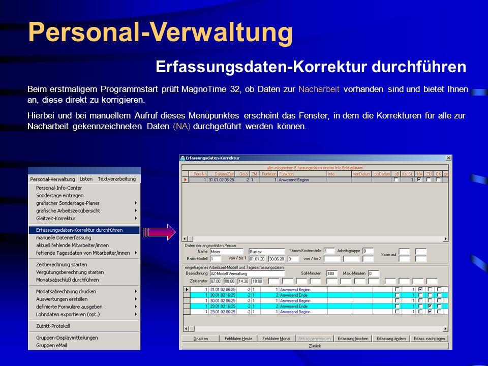Personal-Verwaltung Erfassungsdaten-Korrektur durchführen