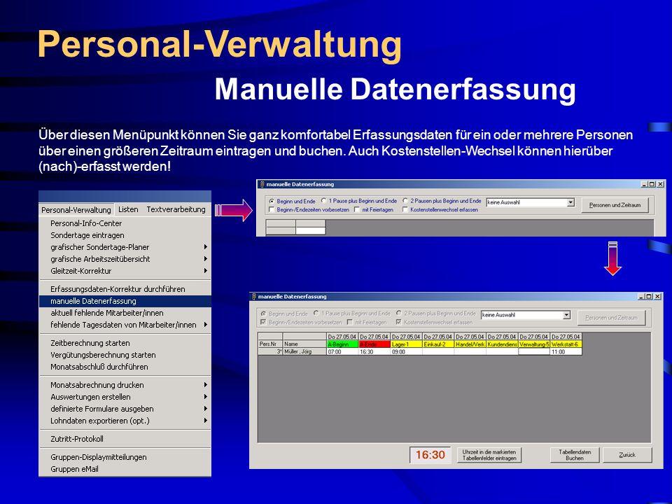 Personal-Verwaltung Manuelle Datenerfassung