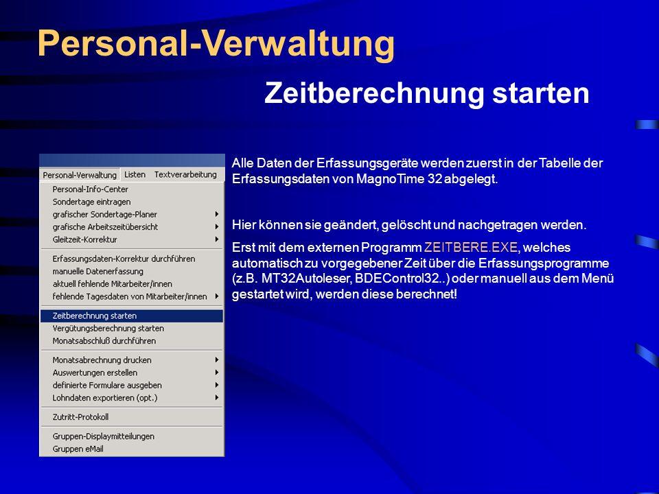 Personal-Verwaltung Zeitberechnung starten