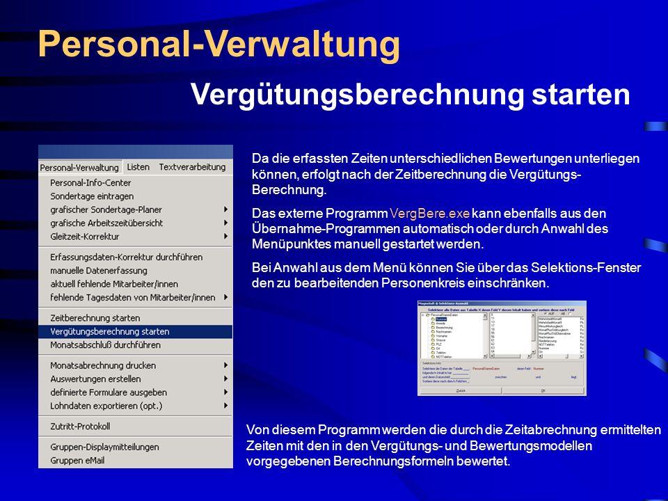 Personal-Verwaltung Vergütungsberechnung starten