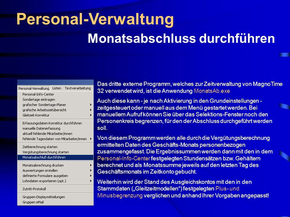 Personal-Verwaltung Monatsabschluss durchführen
