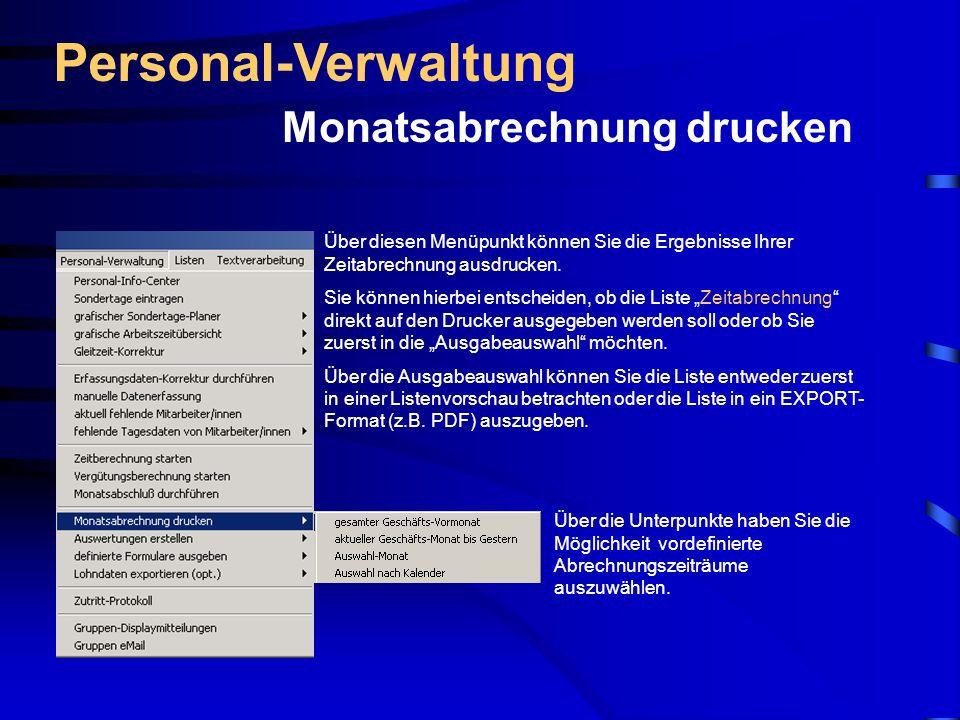 Personal-Verwaltung Monatsabrechnung drucken