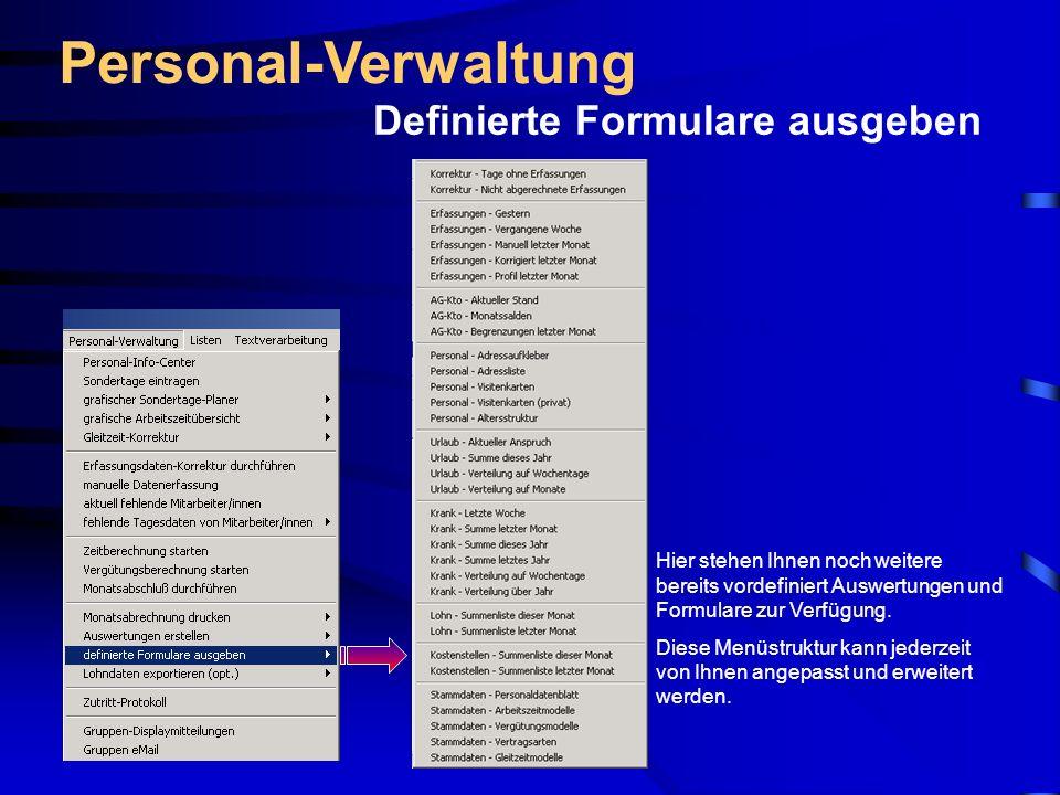 Personal-Verwaltung Definierte Formulare ausgeben