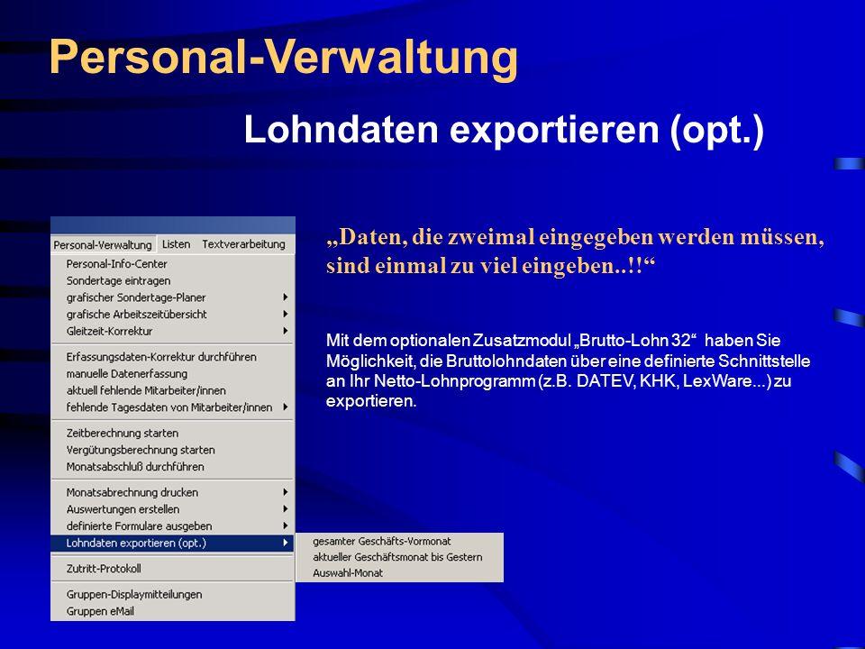 Personal-Verwaltung Lohndaten exportieren (opt.)