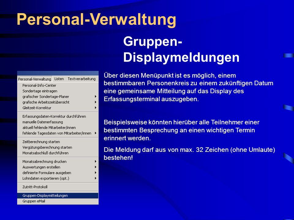 Personal-Verwaltung Gruppen-Displaymeldungen