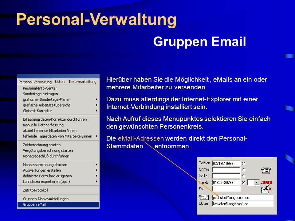 Personal-Verwaltung Gruppen Email
