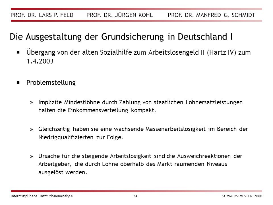 Die Ausgestaltung der Grundsicherung in Deutschland I