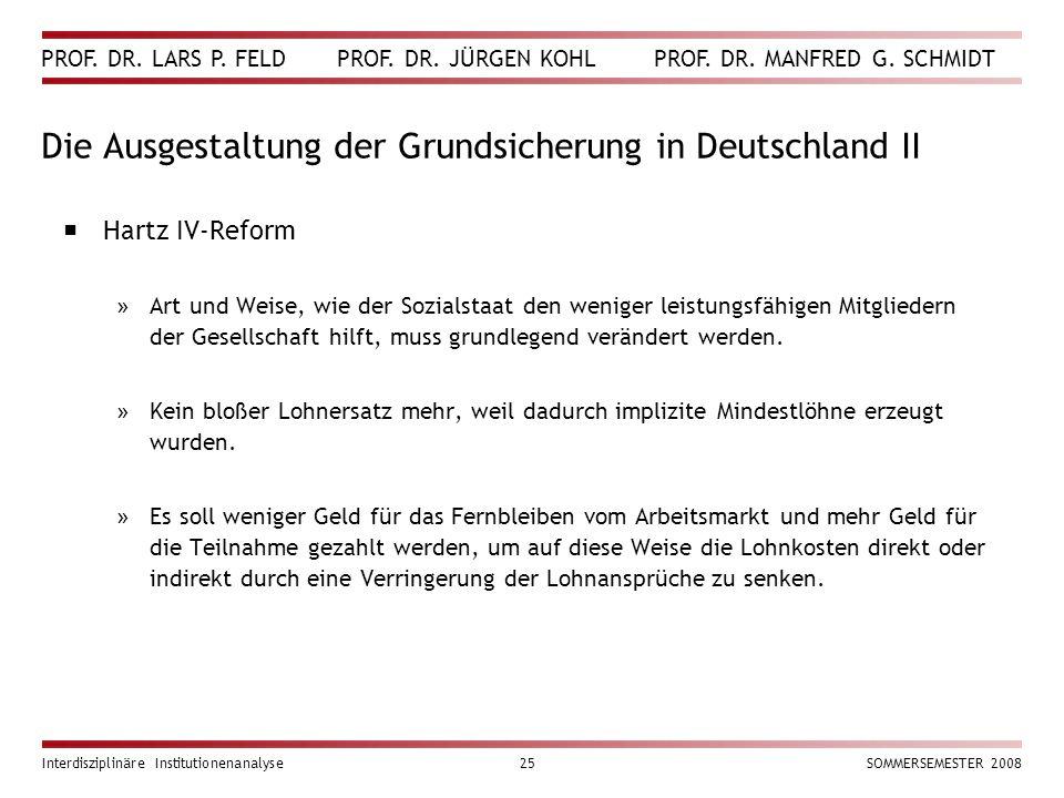 Die Ausgestaltung der Grundsicherung in Deutschland II