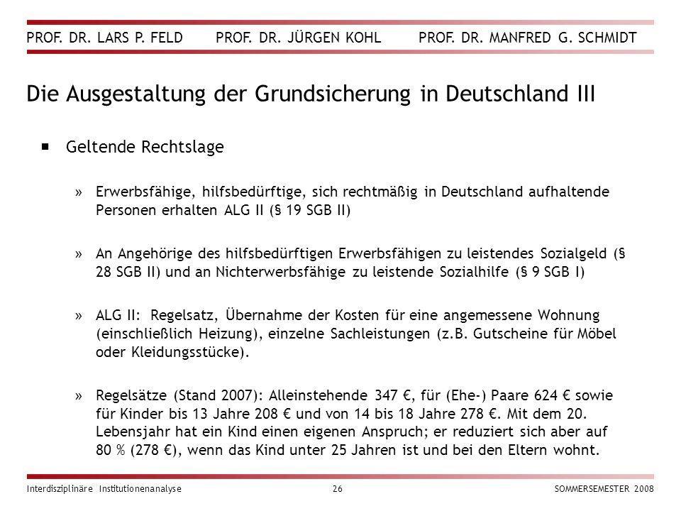 Die Ausgestaltung der Grundsicherung in Deutschland III
