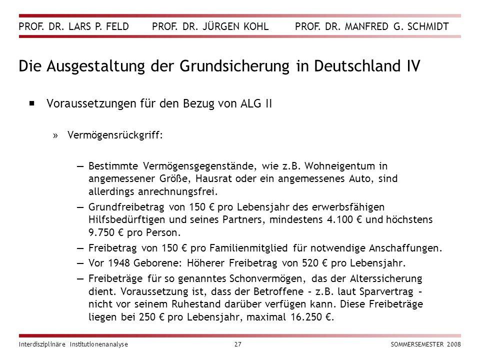 Die Ausgestaltung der Grundsicherung in Deutschland IV
