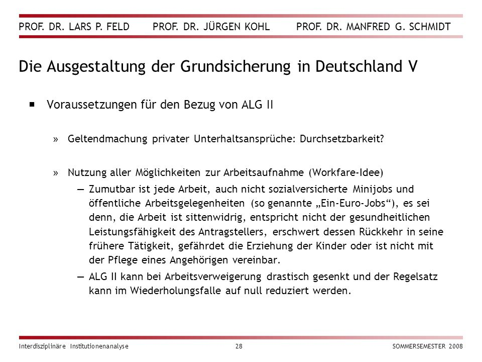 Die Ausgestaltung der Grundsicherung in Deutschland V