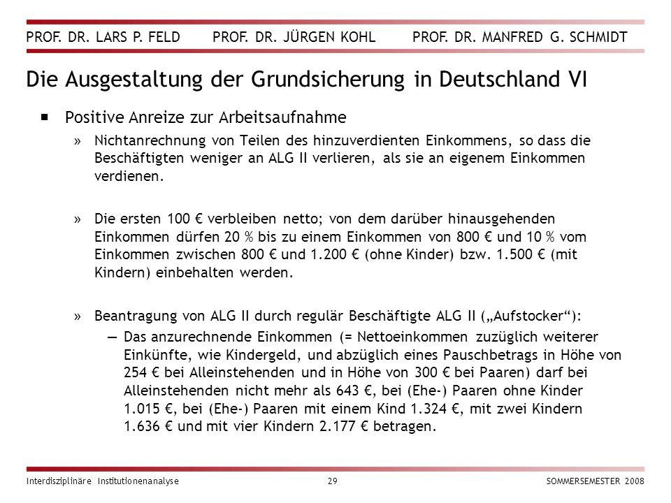 Die Ausgestaltung der Grundsicherung in Deutschland VI