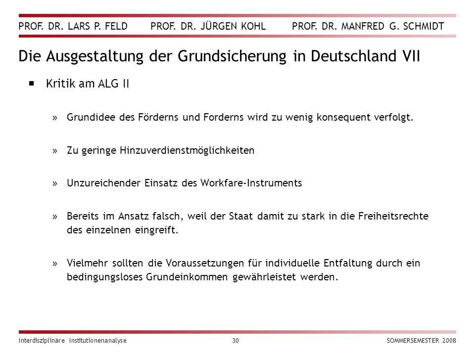 Die Ausgestaltung der Grundsicherung in Deutschland VII