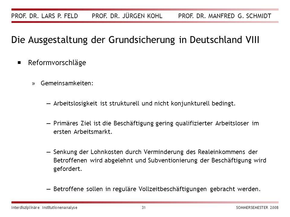 Die Ausgestaltung der Grundsicherung in Deutschland VIII