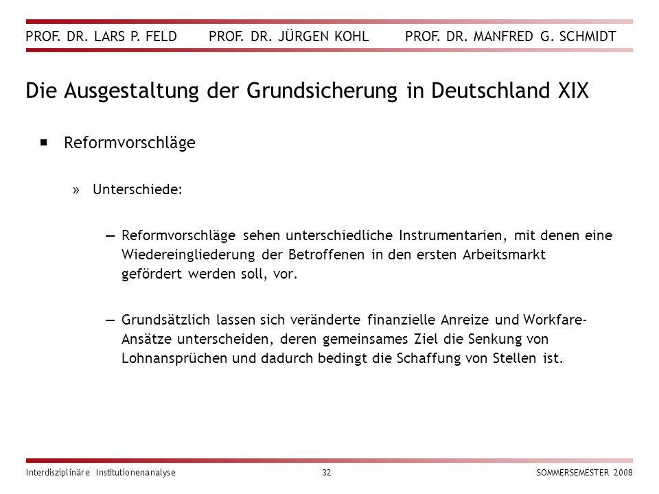 Die Ausgestaltung der Grundsicherung in Deutschland XIX